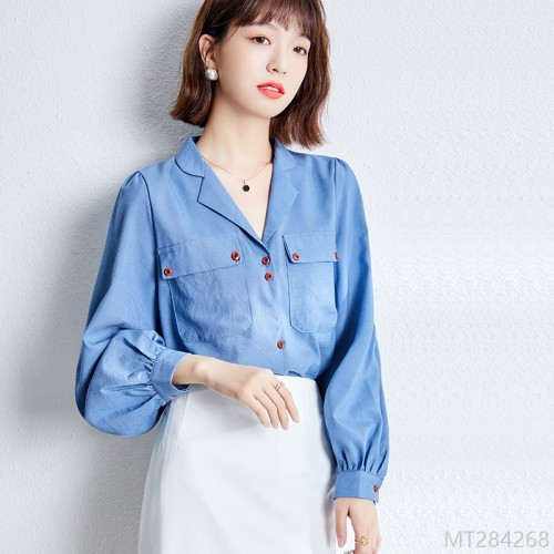2020 new Iceland blue big collar salt pleated sleeve shirt in