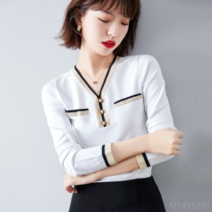 2020 new fashion sweater gentle V-neck blouse base coat