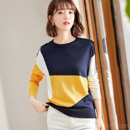 2020 new versatile fashion loose irregular color matching bottoming shirt