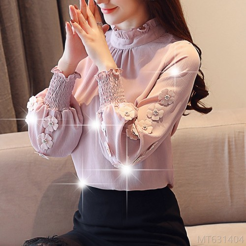 2020 new wooden ear stand collar beaded long sleeve chiffon shirt lace shirt base