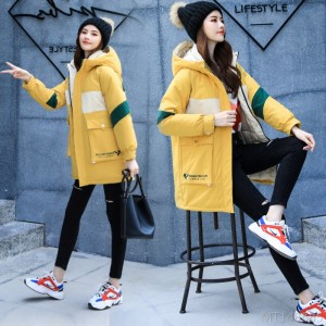 2020 new Korean down jacket women tooling mid-length thick hooded cotton