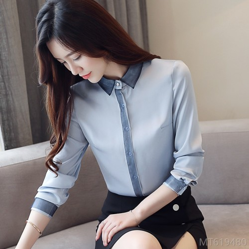 2020 new Han Fan blue shirt women long-sleeved professional autumn wear loose stitching chiffon