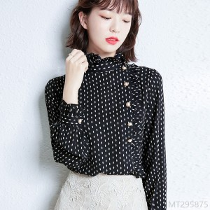 2020 new all-match autumn fashion fungus lace stitching polka dot long sleeve shirt