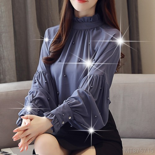 2020 New Lantern Sleeve Beaded Shirt Women's Long Sleeve Base Shirt Loose Chiffon Top