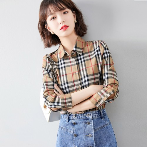 2020 new sweet and slim all-match British shirt female lace