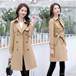 2020 New Long Sleeve Trench Coat Spring Mid-length and Elegant Temperament