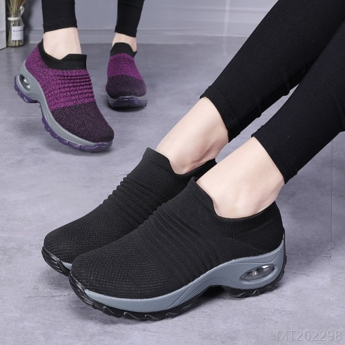 2020 new cross-border hot style large size women's shoes air cushion flying woven sneakers