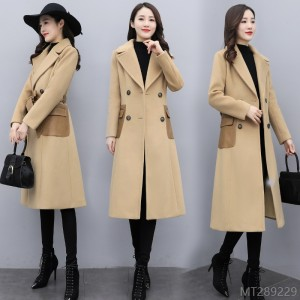 2020 new personality big lapel double breasted mid-length stitching pocket woolen cloth