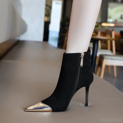 2020 new-sexy nightclub slim short boots stiletto high heel suede
