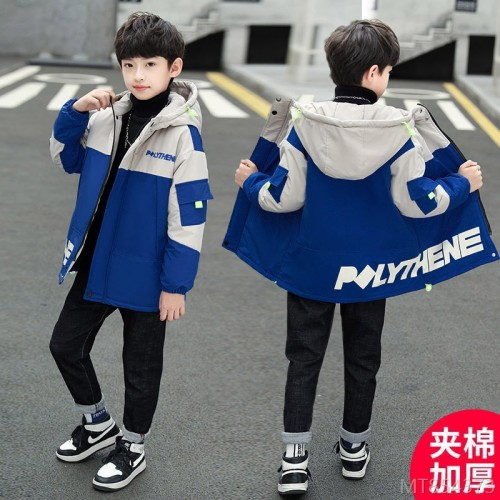 2020 new cotton-padded jacket with hooded letters Korean version of cotton-padded jacket boys tide fan quilted