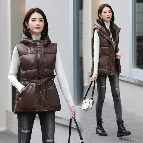 2020 new autumn and winter new short hooded thin waist Korean style shiny jacket vest
