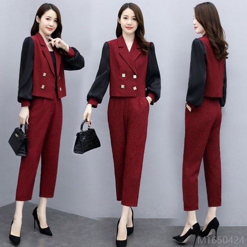 2020 new double-breasted temperament lapel fashion stitching contrast color commuting ocean