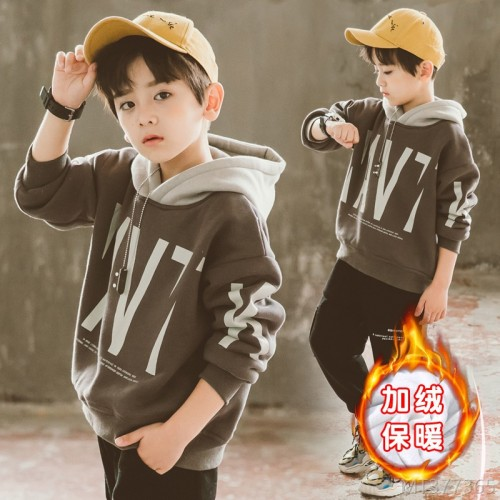 2020 new big children's fashion children's thickening clothes trendy boys children's sweater/velvet