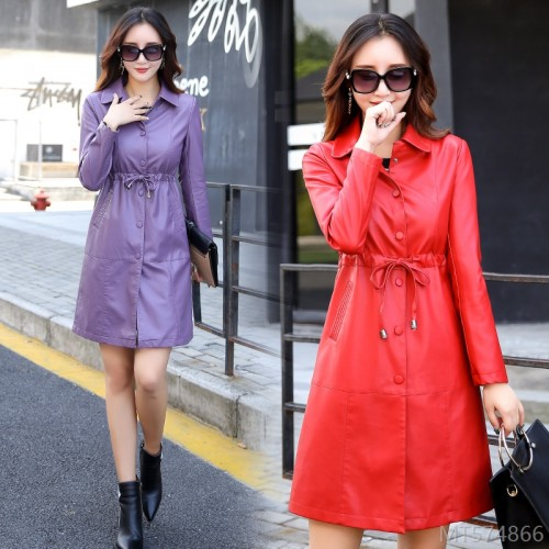 2020 new fashion Korean style slim regular slim Haining leather trench coat