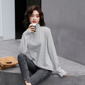 2020 new fashion slim bottoming shirt tight-fitting women's wool sweater commuter stripes