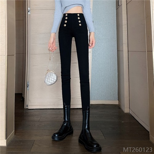 2020 new wash water breasted tight-fitting high-waist pants women's slim pants
