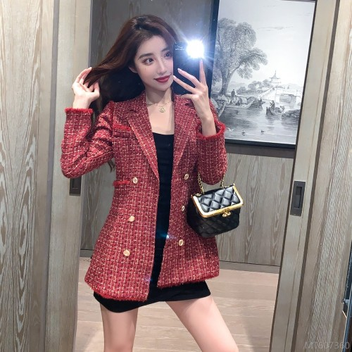 2020 new plaid suit woolen all-match short coat coat