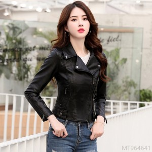 2020 new Korean style slim all-match motorcycle PU leather jacket top women