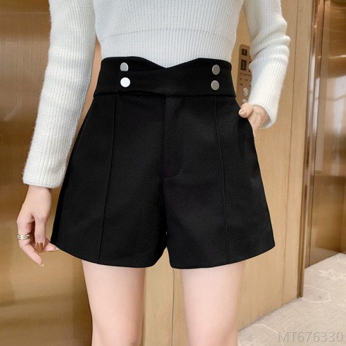 2020 new woolen casual pants women's thin thick woolen shorts