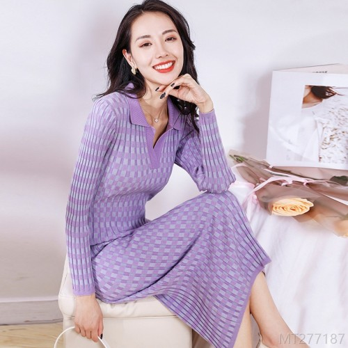2020 new high waist slim knit bottoming dress