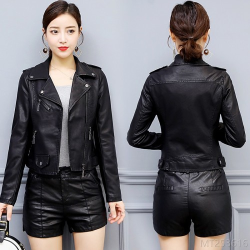 2020 new slim pu leather small leather jacket small personality zipper leather