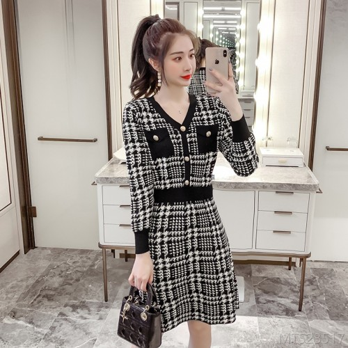 2020 new all-match fashion waist slim French retro houndstooth long sleeves