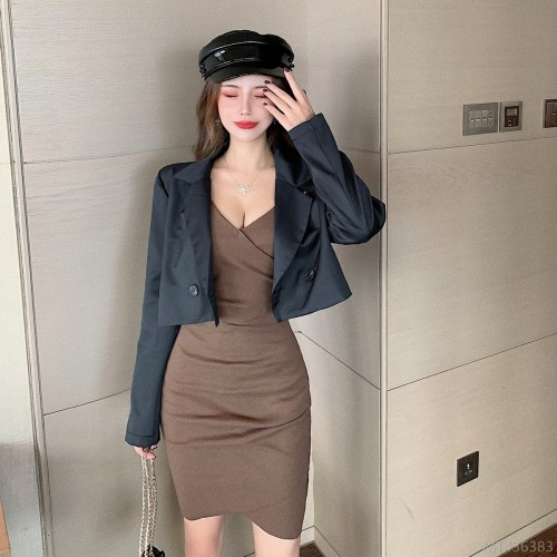 2020 new suit jacket + sexy deep V-neck irregular cross hip dress