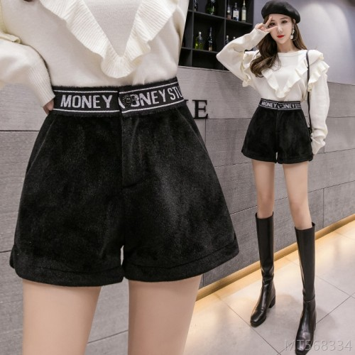 2020 new slim and versatile casual a-line wide-leg boots pants imitation mink shorts