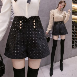 2020 new thick rhombic sequined design shorts women's wide-legged outer boots pants
