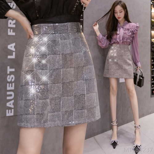 2020 new sequin plaid A-line skirt skirt A-shaped sequins