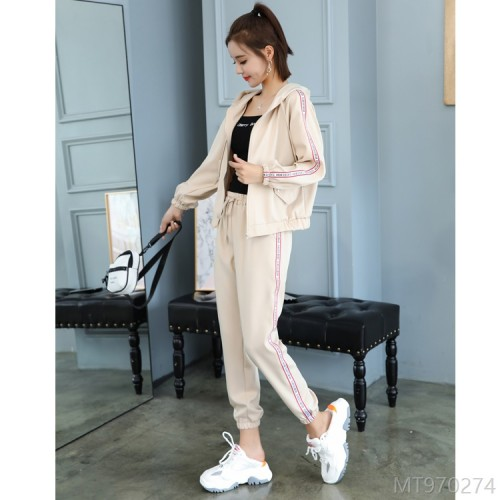 2020 new letter hooded crop top sports suit