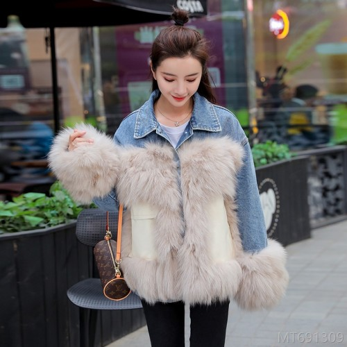 2020 new imitation fur turf pocket stitching denim jacket women