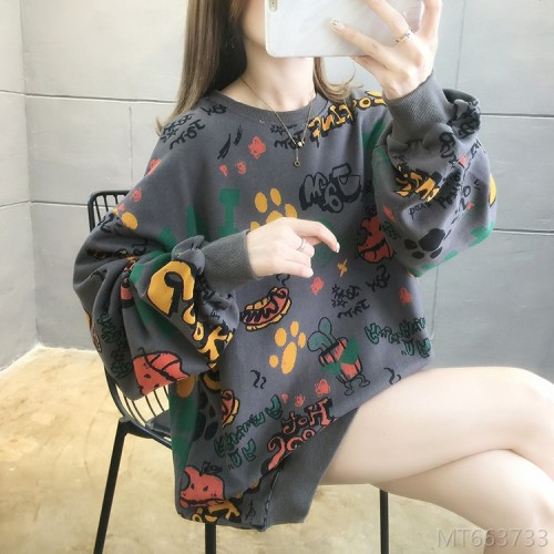 2020 new plus size women's all-match round neck cartoon thin sweater