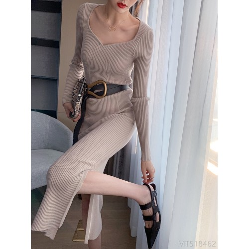 2020 new mid-length high-neck French V-neck bottoming slim knitted dress