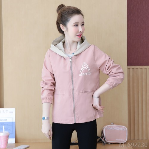 2020 new Korean style short coat women zipper loose windbreaker spring print jacket