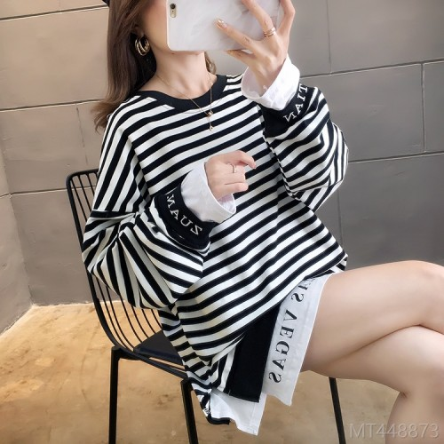 2020 new fake two-piece striped style thin sweater sweater / velvet