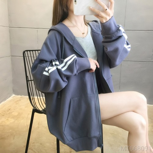 2020 new sweater loose hooded thin fat MM coat