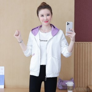 2020 new all-match jacket hooded women coat loose embroidery