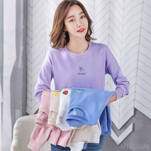 2020 new loose sweater T-shirt girl Korean version small fresh and simple live broadcast