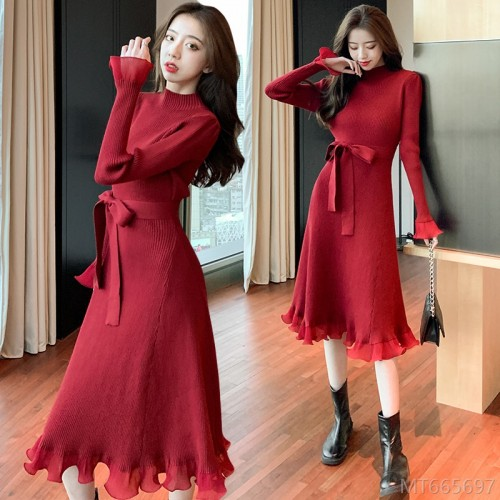 2020 new slim base knitted dress fashion do not pick people sweater skirt