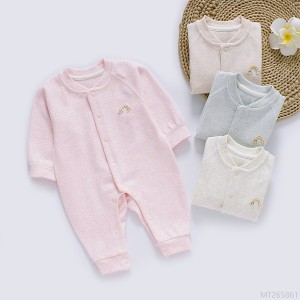 2020 new new baby one-piece spring and autumn fashion illusion color velvet romper long-sleeved cotton romper baby