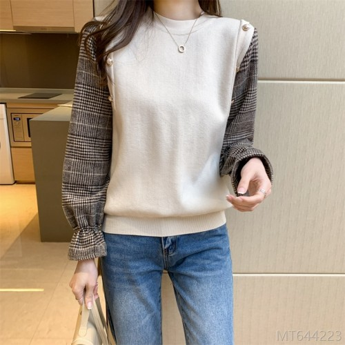 2020 new fashion stitching fake two-piece knitted shirt all-match base