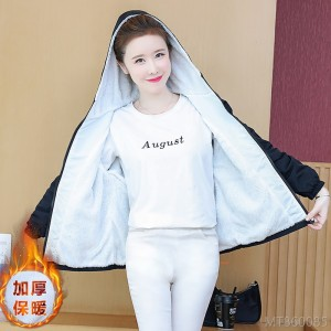 2020 new thick hooded jacket all-match female printed short jacket regular