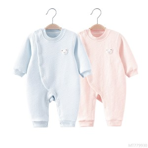 2020 new baby one-piece clothespin silk cotton pajamas newborn baby clothes base to keep warm spring, autumn and winter clothes boneless