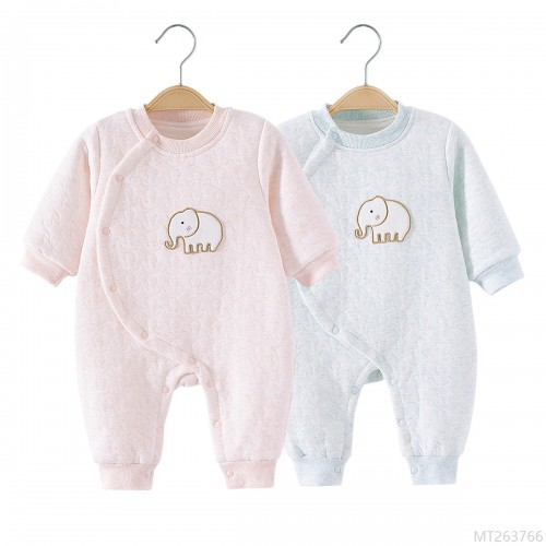 2020 new and new fashion baby one-piece autumn and winter baby elephant warm quilted romper men and women baby clothes