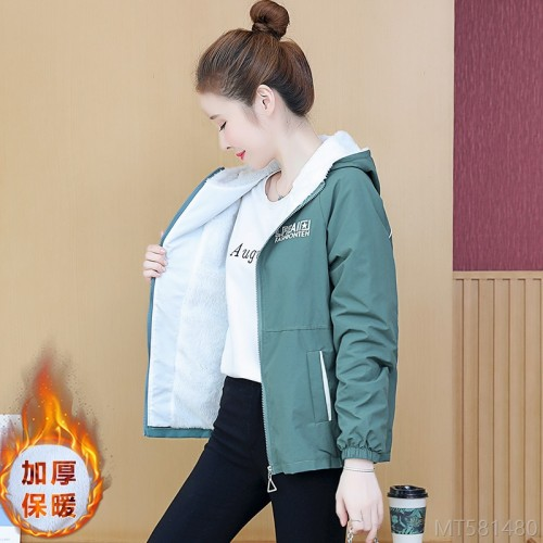 2020 new velvet padded hooded jacket all-match female printed short jacket