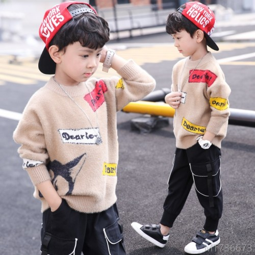2020 new sweater pullover autumn and winter fashion children's big kids