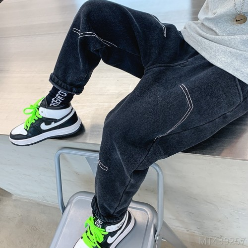 2020 new boys plus velvet jeans autumn and winter fashion big kids pants