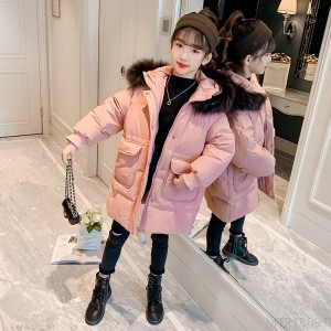 2020 new Korean style medium and large fur collar solid color thickened western style cotton-padded coat