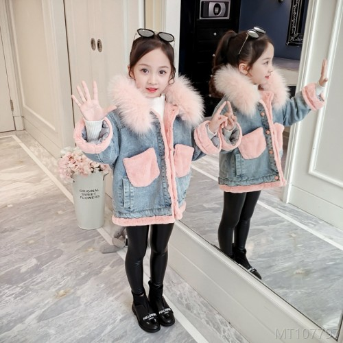2020 new plus velvet padded jacket Korean version of the big children's western style windbreaker jacket